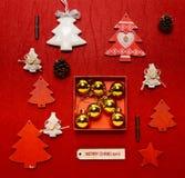 Disposizione del piano della raccolta dell'ornamento di Natale Fotografie Stock