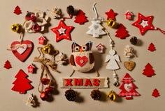 Disposizione del piano della raccolta dell'ornamento di Natale Fotografia Stock Libera da Diritti