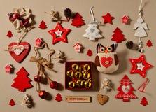 Disposizione del piano della raccolta dell'ornamento di Natale Immagini Stock Libere da Diritti