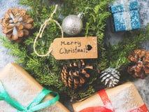 Disposizione del piano di concetto dell'albero del nuovo anno di Natale Immagini Stock