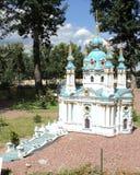 disposizione della costruzione della chiesa del ` s di St Andrew alla mostra delle indicazioni in miniatura immagini stock libere da diritti