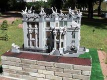 Disposizione della costruzione con la mostra delle indicazioni in miniatura immagine stock