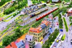 Disposizione della ferrovia del giocattolo Fotografia Stock Libera da Diritti