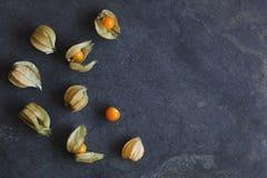 Disposizione della frutta del physalis, alchechengi, sull'ardesia naturale fotografia stock
