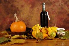 Disposizione delle zucche e del vino Fotografie Stock