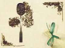 Disposizione di erbe del piano delle erbe differenti su tessuto di tela con un cucchiaio e un sacchetto Immagini Stock Libere da Diritti