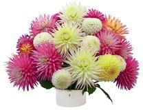 Disposizione di fiore dei crisantemi e delle dalie Fotografia Stock