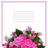 Disposizione di fiori rosa della peonia, del cratego e del lillà Fotografia Stock