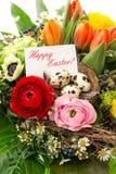 Disposizione di Pasqua, decorazione delle uova, cartolina d'auguri Fotografie Stock Libere da Diritti