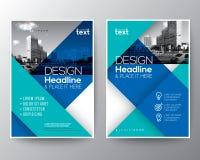 Disposizione di progettazione blu del manifesto dell'aletta di filatoio della copertura del rapporto annuale dell'opuscolo illustrazione vettoriale