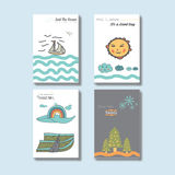 Disposizione di progettazione unica semplice adorabile della copertura della cartolina di Handrawn Immagine Stock