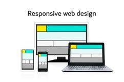 Disposizione di web design rispondente sui dispositivi differenti Fotografia Stock Libera da Diritti