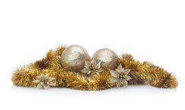 Disposizione dorata di Natale Fotografia Stock