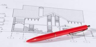 Disposizione e penna Fotografia Stock
