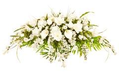 Disposizione floreale funerea del coperchio di seta del cofanetto Fotografie Stock Libere da Diritti