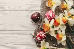 Disposizione moderna del piano di pasqua uova di Pasqua variopinte alla moda con la molla Immagine Stock Libera da Diritti