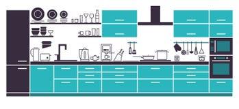 Disposizione moderna dell'interno della cucina Fotografia Stock