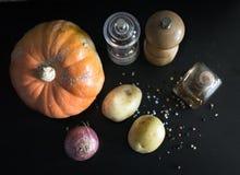 Disposizione piana degli ingredienti per una minestra della zucca con un backg scuro fotografie stock libere da diritti