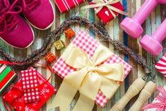 Disposizione piana del Buon Natale e buon anno e qualsiasi PR holidy Immagini Stock