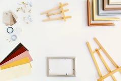 Disposizione piana della cornice con lo spazio della copia Fotografia Stock