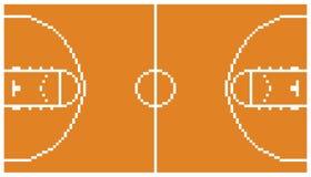Disposizione retro 8 della corte di sport di pallacanestro di arte del pixel Immagini Stock