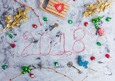 Disposizione rustica del piano di Natale, testo 2018 Fotografia Stock Libera da Diritti
