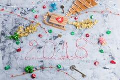 Disposizione rustica del piano di Natale, testo 2018 Immagini Stock