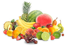 Disposizione variopinta della frutta isolata su bianco Fotografia Stock