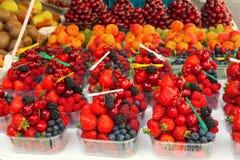 Disposizione variopinta delle bacche della frutta fresca pronte da mangiare su un mA Immagini Stock