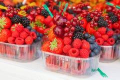 Disposizione variopinta delle bacche della frutta fresca pronte da mangiare su un mA Fotografie Stock Libere da Diritti