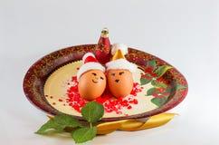 Disposizioni di Natale con le uova Fotografia Stock