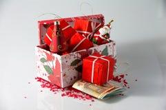 Disposizioni e soldi di Natale Fotografie Stock