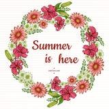 Disposizioni floreali Giglio rosa e Hrizantema con le foglie verdi Fiori romantici del giardino di vettore Corona dei fiori royalty illustrazione gratis