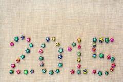 2015 dispuestos de la estrella en harpillera Fotos de archivo libres de regalías