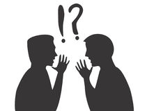 Dispute. Silhouettes of two arguing men Stock Photography