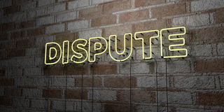 DISPUTE - Glowing Neon Sign on stonework wall - 3D rendered royalty free stock illustration Stock Photos