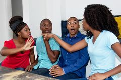 Dispute of group of african american people stock photo