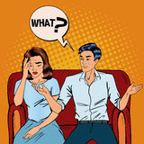 Dispute Between Man and Woman. Home Quarrel. Offended Woman Stock Image