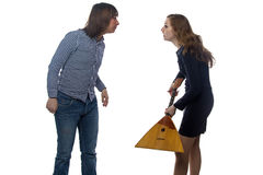 Dispute between a man and woman Royalty Free Stock Photo