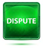Dispute Neon Light Green Square Button royalty free illustration