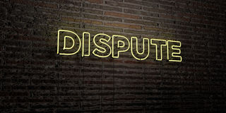 DISPUTE -Realistic Neon Sign on Brick Wall background - 3D rendered royalty free stock image Stock Photo