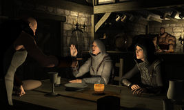 Dispute at the Red Dragon Tavern - Continued. In the dark interior of the Red Dragon Tavern, the barman Torth looks on as Lift the Fence continues to take Royalty Free Stock Photography