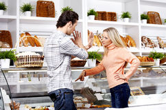 Dispute in shop Stock Photography