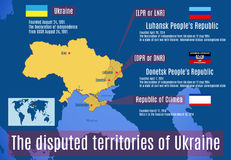 The disputed territories of Ukraine. Vector map. The disputed territories of Ukraine Stock Photography