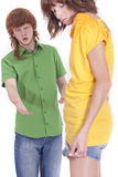 Disputing about short skirt Royalty Free Stock Photo