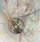 Disque abstrait de brun de fractale avec courbes chaotiques illustration de vecteur
