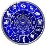 Disque bleu de zodiaque avec des signes et des symboles illustration libre de droits