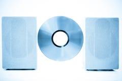 Disque compact, bleu traité par couleur de haut-parleurs Image libre de droits