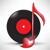 Disque compact et note principale musicale d'amour Photographie stock libre de droits