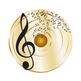 Disque d'or de musique Photo stock